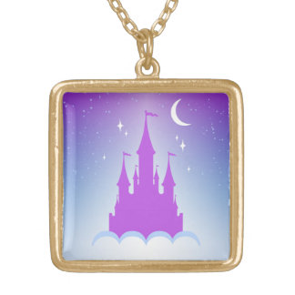 Nighttime Dreamy Castle In The Clouds Starry Sky Square Pendant Necklace
