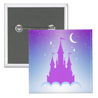 Nighttime Dreamy Castle In The Clouds Starry Sky Pinback Button