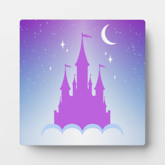 Nighttime Dreamy Castle In The Clouds Starry Sky Display Plaque