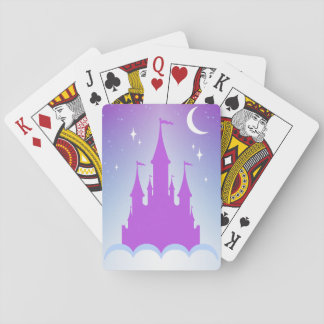 Nighttime Dreamy Castle In The Clouds Starry Sky Playing Cards