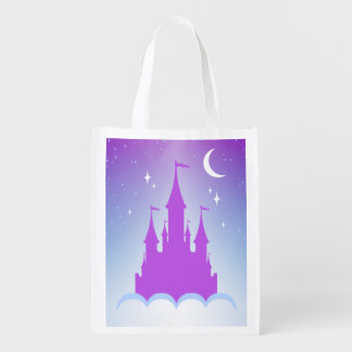 Nighttime Dreamy Castle In The Clouds Starry Sky Reusable Grocery Bag