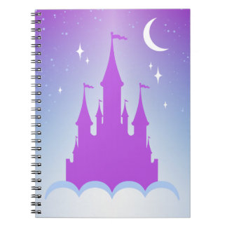 Nighttime Dreamy Castle In The Clouds Starry Sky Spiral Notebook