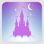 Nighttime Dreamy Castle In The Clouds Starry Sky Square Sticker