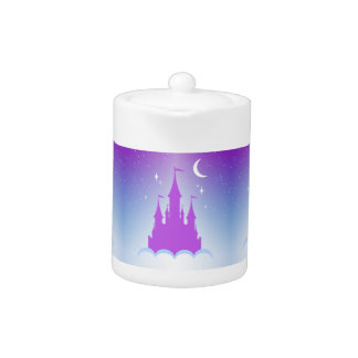 Nighttime Dreamy Castle In The Clouds Starry Sky Teapot