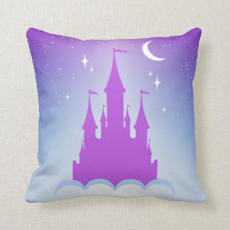 Nighttime Dreamy Castle In The Clouds Starry Sky Throw Pillow