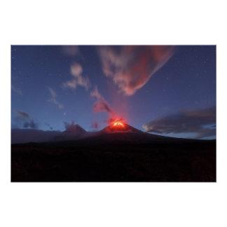 Nighttime eruption Klyuchevskoy Volcano. Kamchatka Poster