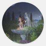 Nighttime Garden Fairy Classic Round Sticker