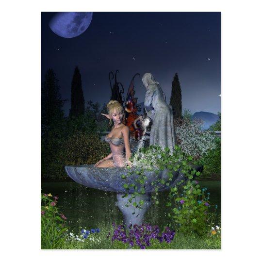 Nighttime Garden Fairy Postcard