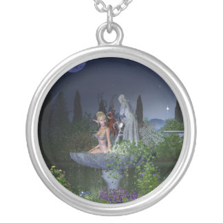 Nighttime Garden Fairy Silver Plated Necklace