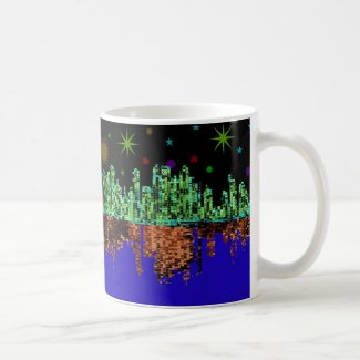 Nighttime Gritty City Skyline on Coffee Mug