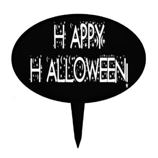 Nighttime Happy Halloween Text Cake Topper