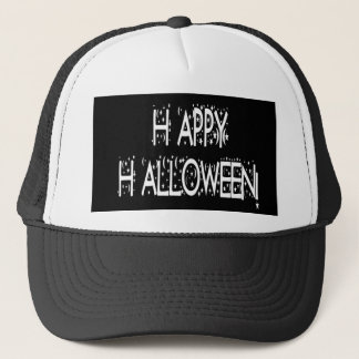 Nighttime Happy Halloween Text Trucker Hat