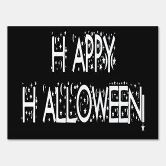 Nighttime Happy Halloween Text Yard Sign