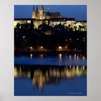 Nighttime in Prague, Czech Republic Poster