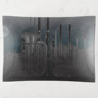 Nighttime Orchestra Instruments City Skyline Trinket Trays