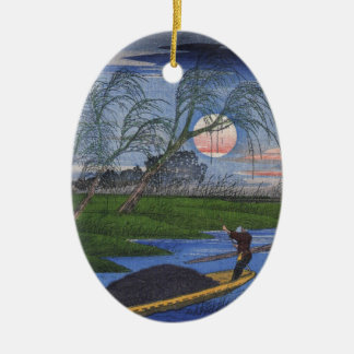 Nighttime River Scene Ceramic Ornament