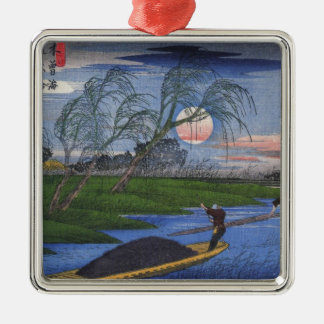Nighttime River Scene Metal Ornament