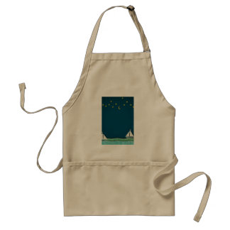 Nighttime Sailing Collage Adult Apron