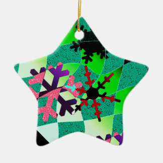 Nightvision snowflake Double-Sided star ceramic christmas ornament