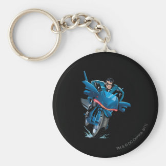 Nightwing rides bike basic round button keychain