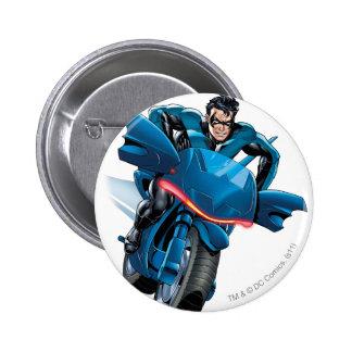 Nightwing rides bike pinback buttons