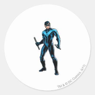 Nightwing Stands Round Sticker