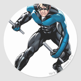 Nightwing with Weapons Classic Round Sticker