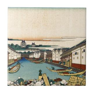 Nihonbashi bridge in Edo by Katsushika Hokusai Ceramic Tile