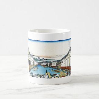 Nihonbashi bridge in Edo Katsushika Hokusai Classic White Coffee Mug