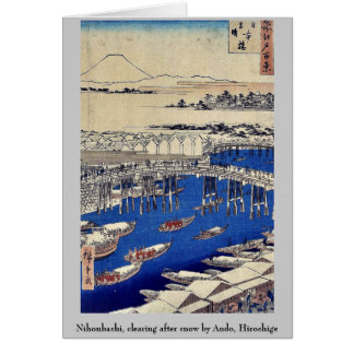 Nihonbashi, clearing after snow by Ando, Hiroshige Stationery Note Card