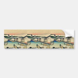 Nihonbashi de Edo por Katsushika, Hokusai Ukiyoe Pegatina Para Auto