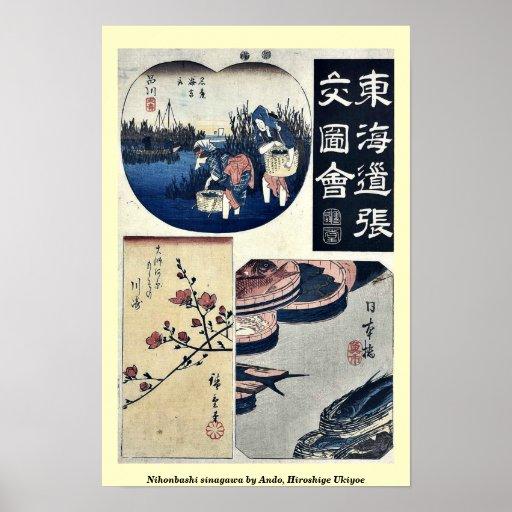 Nihonbashi sinagawa by Ando, Hiroshige Ukiyoe Poster