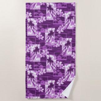 Niihau Island Hawaiian Plumeria and Palm Tree Beach Towel