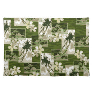 Niihau Island Hawaiian Plumeria and Palm Tree Cloth Placemat