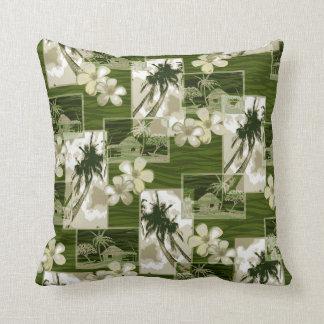 Niihau Island Hawaiian Plumeria and Palm Tree Throw Pillow