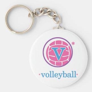 Nika Volleyball Basic Round Button Keychain