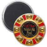 Nikki & Paul Las Vegas Gold Casino Chip Favor Magnet