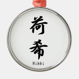 Nikki translated into Japanese kanji symbols. Metal Ornament