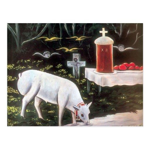 Niko Pirosmani - cordero y tabla de Pascua, ángele Postales