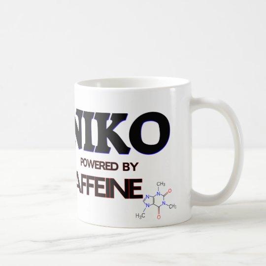 Niko powered by caffeine coffee mug