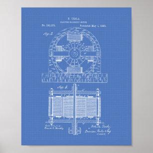 Nikola tesla posters zazzle nikola tesla 1888 patent art blueprint poster malvernweather Images