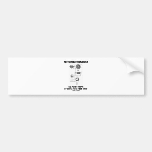 Nikola Tesla AC Dynamo Electrical System Patent Bumper Sticker