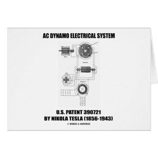 Nikola Tesla AC Dynamo Electrical System Patent Card