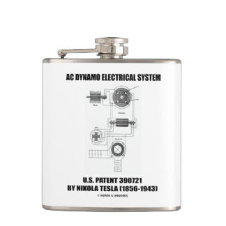 Nikola Tesla AC Dynamo Electrical System Patent Hip Flask