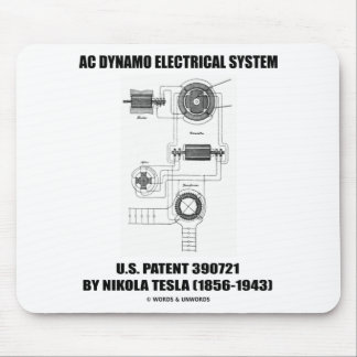 Nikola Tesla AC Dynamo Electrical System Patent Mouse Pad