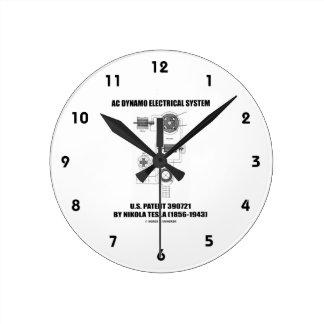 Nikola Tesla AC Dynamo Electrical System Patent Round Clock