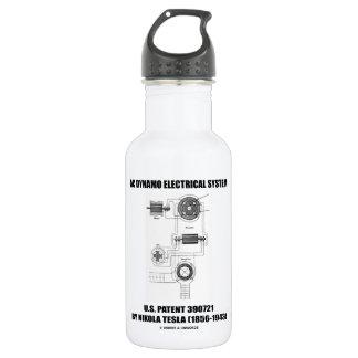 Nikola Tesla AC Dynamo Electrical System Patent Stainless Steel Water Bottle