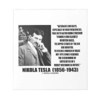 Nikola Tesla Alternate Currents Mechanical Nature Memo Note Pads