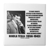 Nikola Tesla Alternate Currents Mechanical Nature Small Square Tile