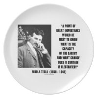 Nikola Tesla Capacity Of Earth Charge Electrified Party Plate